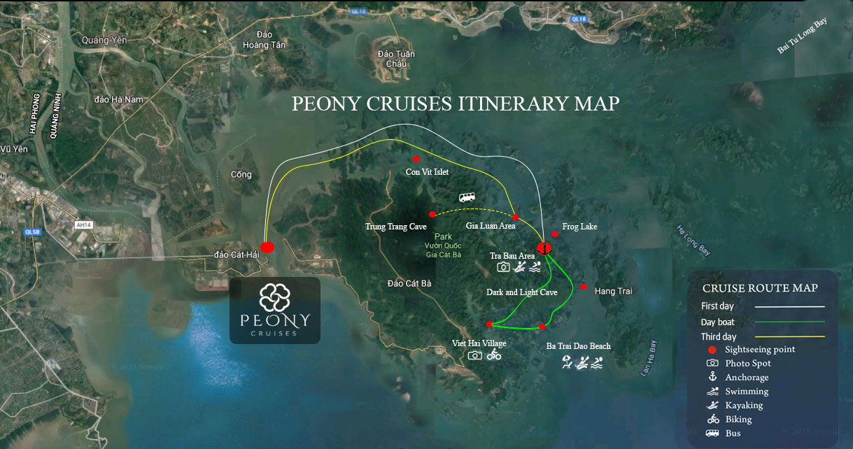 Peony Cruises Itinerary Map